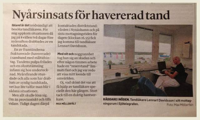 Lennart Davidsson, hjälte i Nynäshamns Posten!